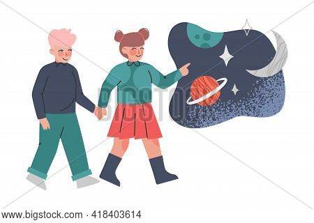 School Kids At Excursion In Planetarium, Kids Learning About Stars And Planets Cartoon Vector Illust