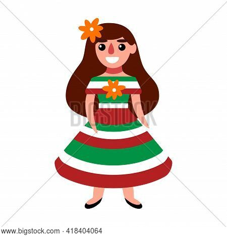 Cute Mexican Girl In A Mexican Flag Colors Dress And With A Flower In Long Hair Stock Vector Illustr
