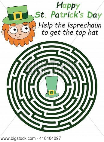 Help The Leprechaun To Get The Top Hat - Cartoon Maze Game For Children Stock Vector Illustration. E