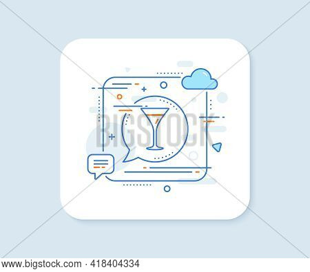 Martini Glass Line Icon. Abstract Square Vector Button. Wine Glass Sign. Martini Glass Line Icon. Sp