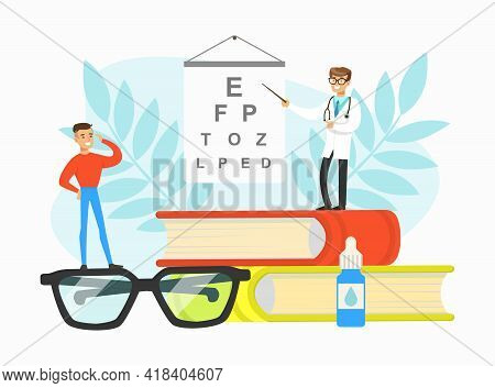 Optometrist Checking Patient Eyesight With Test Chart In Office, Doctor Doing Medical Examination Of