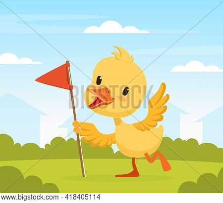 Adorable Duckling Holding Red Flag, Cute Little Bird Standing On Beautiful Summer Landscape Vector I