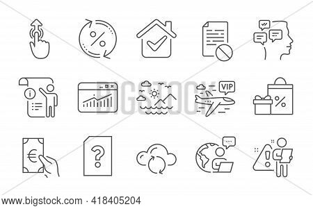 Cloud Sync, Messages And Sea Mountains Line Icons Set. Vip Flight, Website Statistics And Finance Si