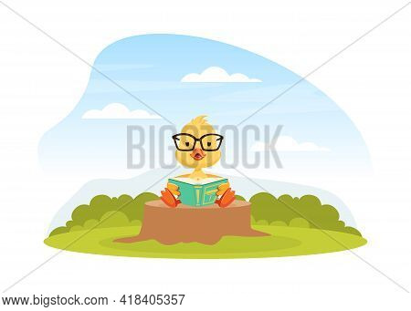 Cute Duckling Baby Sitting On Green Lawn On Beautiful Summer Landscape Vector Illustration