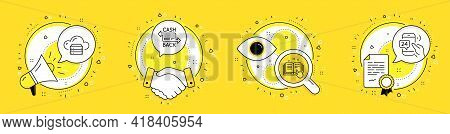 Cashback Card, Technical Documentation And Cloud Server Line Icons Set. Megaphone, Licence And Deal