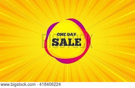 One Day Sale Banner. Yellow Background With Offer Message. Discount Sticker Shape. Coupon Bubble Ico