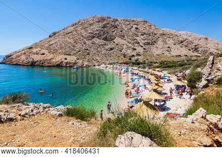 Stara Baska, Croatia - July, 21: View Of The Beautiful Oprna Beach In The Adriatic Bay On July 21, 2