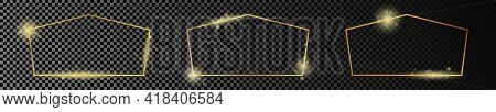 Set Of Three Gold Glowing Tetragon Shape Frames Isolated On Dark Transparent Background. Shiny Frame