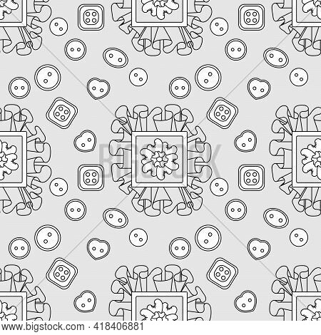 Seamless Pattern With Textile Ruffles And Sewing Buttons. Creative Classes, Hand Made. Vector Backgr