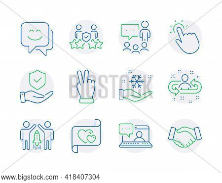 People Icons Set. Included Icon As Smile Face, Touchpoint, Friends Chat Signs. Freezing, People Chat