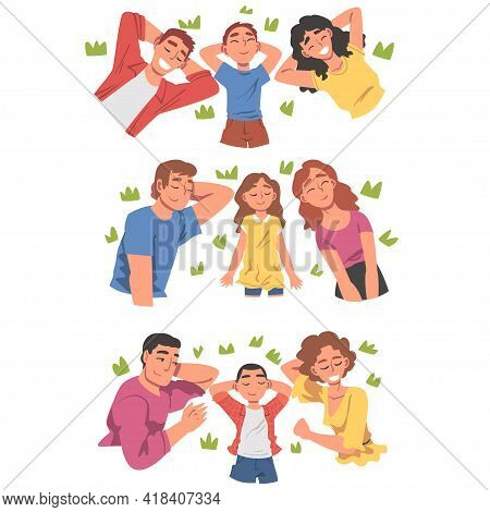 View From Above Of Lying People Set, Happy Parents And Their Kids Lying On Isolated White Background