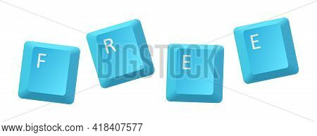 Vector Blue Free Key Inscription, Letter From Key Of Keyboard, Keyboard Is Very Useful Tool For Pers