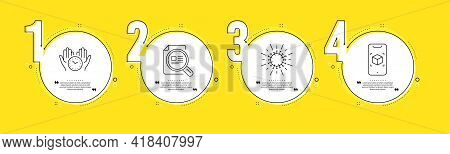 Safe Time, Check Article And Coronavirus Line Icons Set. Timeline Process Infograph. Augmented Reali