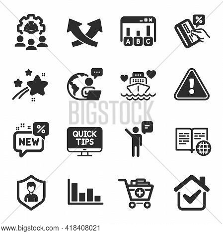 Set Of Business Icons, Such As Security Agency, Web Tutorials, Engineering Team Symbols. Agent, Hist