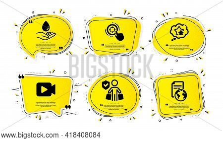 Buyer Insurance, Ranking Stars And Video Camera Icons Simple Set. Yellow Speech Bubbles With Dotwork