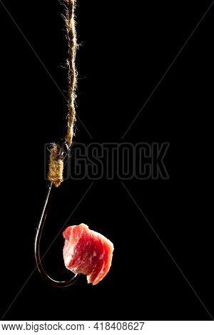 Fishing Hook Bait. A Piece Of Meat On A Hook. Fishing Lure. Risky Prey. Dangerous Gain.