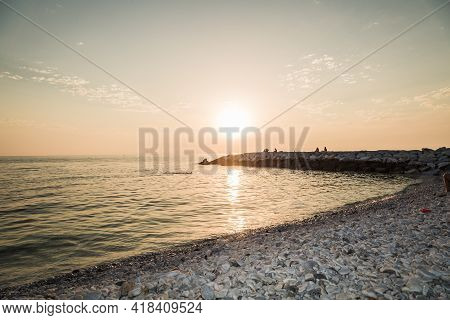 Background Of Landscape Of Sunset Over The Sea