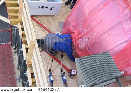 Assembly Of Industrial Equipment By Worker