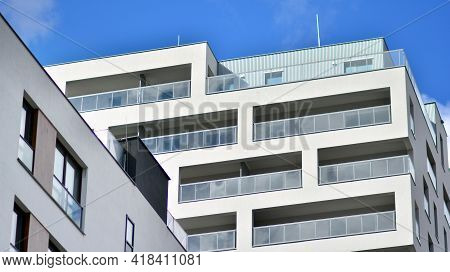 Modern Residential Apartment House Building. Luxurious Apartments For Sale. New Build Neighborhood M