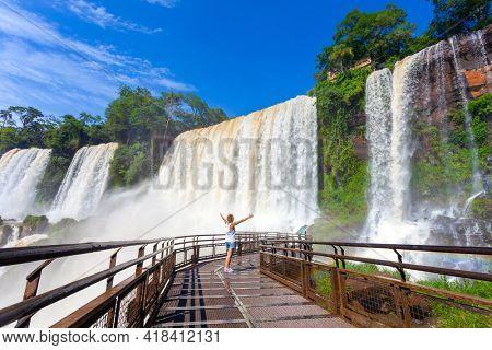 Iguazu Falls in a tropical rainforest. UNESCO world heritage in Brazil and Argentina