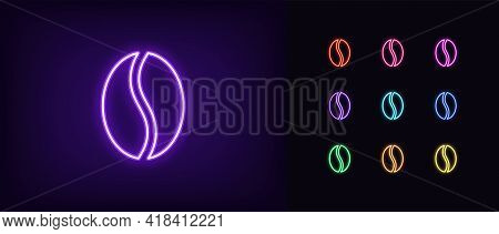 Neon Coffee Bean Icon. Glowing Neon Coffee Seed Sign, Outline Wholegrain Bean Pictogram And Silhouet