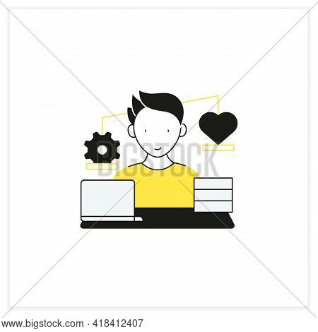 Workaholic Flat Icon.work Before Personal Lives. Give Preference To Job. Man Works On Laptop. Hard W