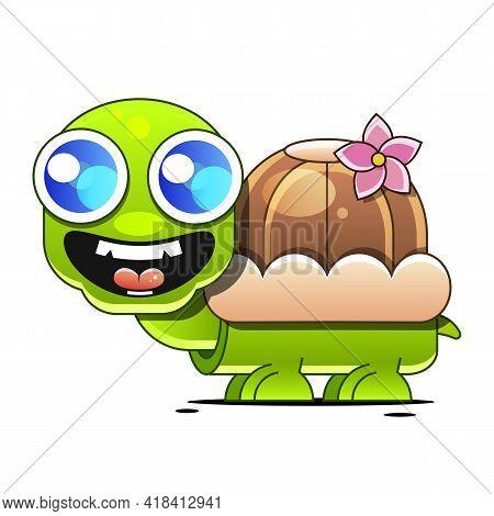 Cute Turtle Cartoon Greeting Card Illustration Cartoon Sign For Print, In Comics, Fashion