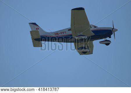 Piper Pa 28-181 Aircraft Is Departing From The Airport Saint Gallen Altenrhein In Switzerland 23.4.2