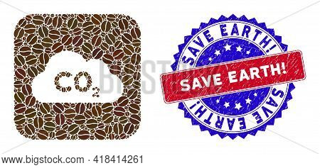 Vector Mosaic Co2 Gas Cloud And Grunge Bicolor Save Earth Exclamation. Seal Stamp. Mosaic Co2 Gas Cl