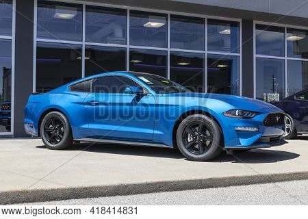 Plainfield - Circa April 2021: Ford Mustang Display At A Dealership. Ford Offers The Mustang In A Ba