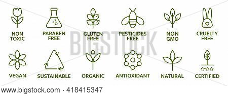 Organic And Natural Cosmetic Line Icons. Gluten And Paraben Free Cosmetic. Allergen Free Badges. Non