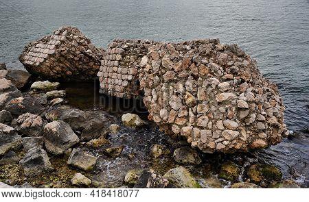 Wall Ruins Along The Coast, Gaeta, Italy
