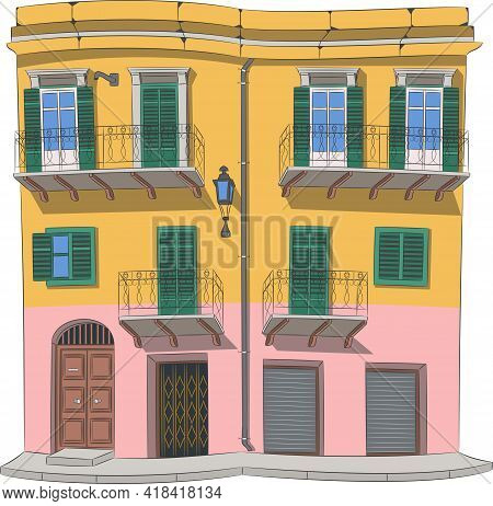 Traditional Italian House With Balconies In Palermo. Sicily.