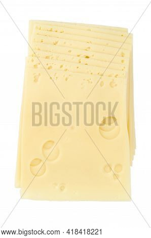 Emmental Cheese, Sandwich Slices, From Above. Sliced Processed Emmentaler, Also Emmenthal, A Yellow,