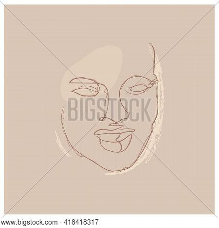 Gorgeous Portrait Continuous Silhouette Chalk Art. Abstract Woman Portrait. Modern Minimalist Art, A