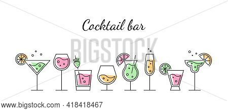 Glasses With Alcoholic Cocktails, Champagne, Wine And Cognac. Cocktail Bar Concept. Vector Black Thi