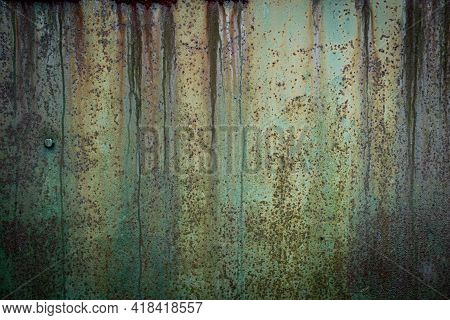Abstract, Moody Wall Texture Background. Green And Brown Surface. Creative Backdrop Design. Rusty Me