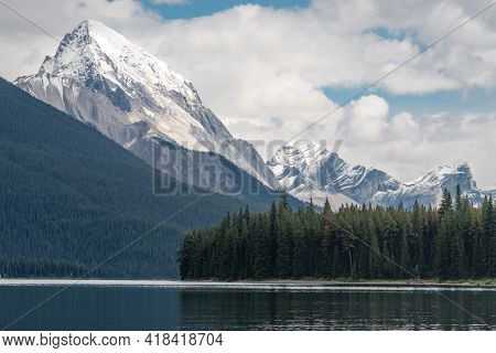 Maligne Lake And Samson Peak With Maligne Mountain And Mount Paul In The Background. Cloudy Summer I