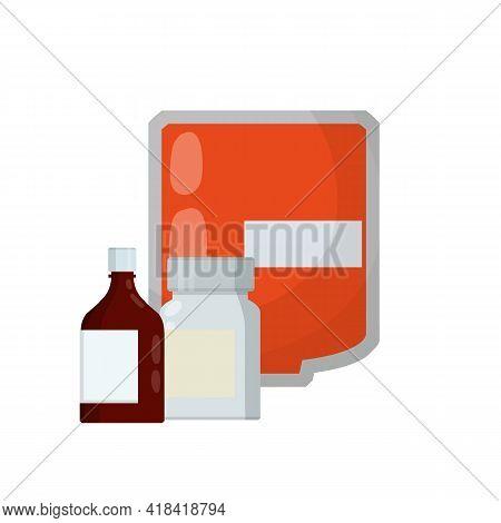 Medical Preparation. Element Hospitals, Clinics. Transfusion. Blood Packaging. Cartoon Flat Illustra