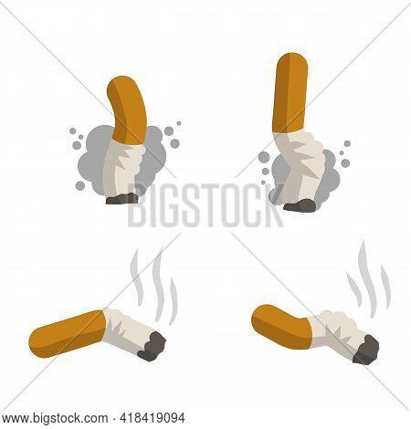Cigarette Butt. Set Of Trash, Dirt And Garbage. Cartoon Flat Illustration. Bad Harmful Habit Of Smok