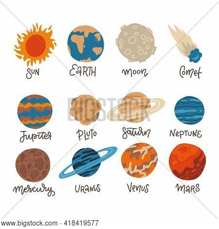 Big Icon Set Of Solar System Planets, Sun And Moon On White Background. Mercury, Venus, Earth, Mars,