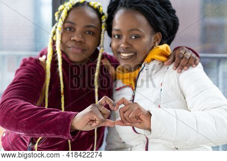 Smiling Happy Black Girl Friends, African American Homosexual Women, Afro Lesbians Couple Make Heart
