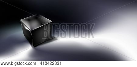 Dark Abstract Background, Tech Composition, Black Cube Or Box 3d In Darkness. Clean Object, Shape. G