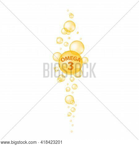 Omega 3 Fatty Acid Pills. Fish Oil Capsules. Golden Glossy Bubbles Streaming. Food Supplement For Be