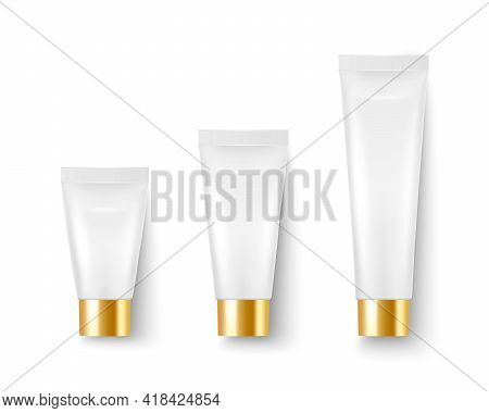 Vector 3d Realistic Plastic, Metal White Tooth Paste, Cream Tube, Packing, Golden Cap Set Isolated O