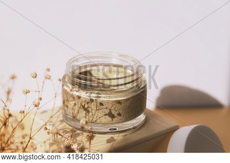 Cosmetic Scrub Mask For Face And Body In Glass Jar. Alternative Medicine, Beauty Skin Care Product.