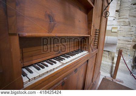 Lleida, Spain, May 1, 2020 - Register Control And Keyboard Of Medieval Organ Of La Seu Vella Cathedr
