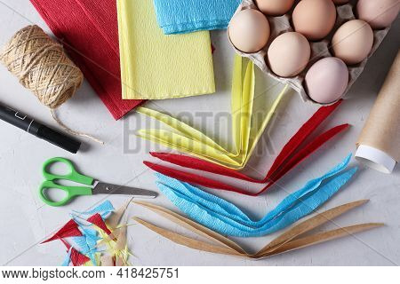 We Decorate Eggs For Easter Using Colored Paper And Parchment In The Form Of Rabbits. Cut Off Strips