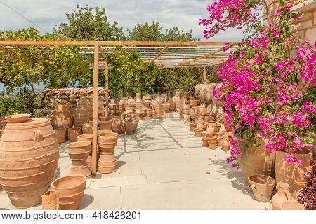 Display Of Traditional Pottery In The Colorful Village Of Margarites, Famous For Its Handmade Cerami