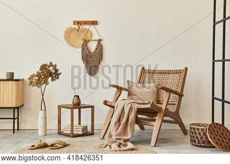 Stylish Interior Design Of Living Room With Wooden Armchair, Coffee Table, Furniture, Rattan Decorat